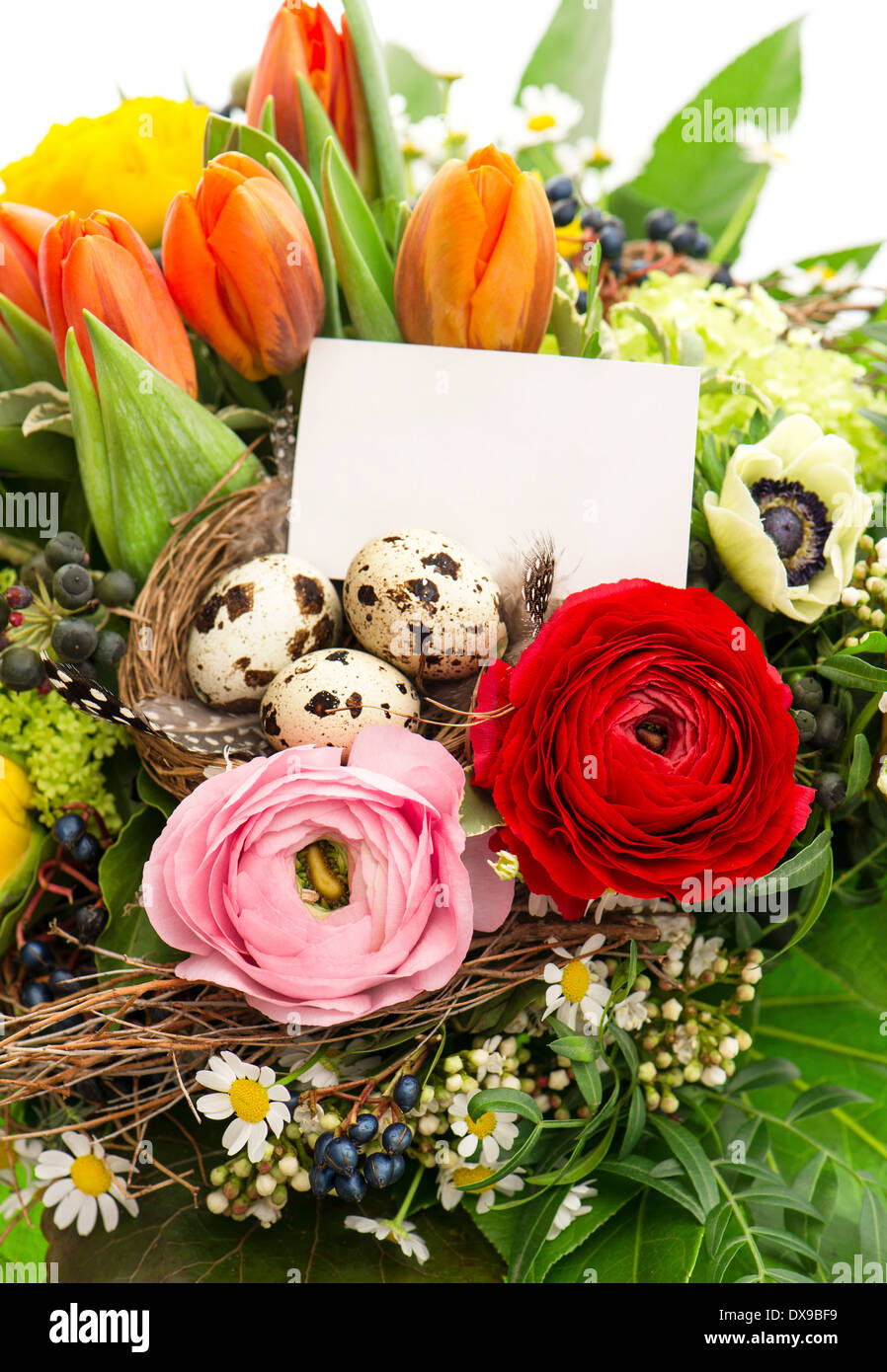 colorful easter flowers bouquet with eggs decoration and blank Stock ...