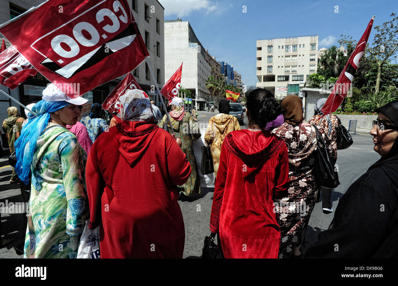 Muslim women of the CCOO trade union protest against joblessness and racial discrimination in employment. Ceuta . Spain - Stock Image