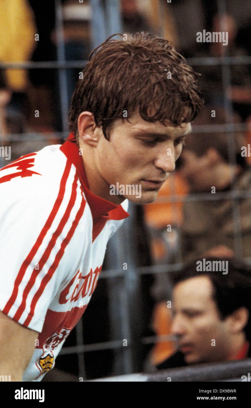 football, Bundesliga, 1979/1980, Ruhrstadion, VfL Bochum versus VfB Stuttgart 0:1, running-in to the second half, Karl-Heinz Foerster (Stuttgart) - Stock Image