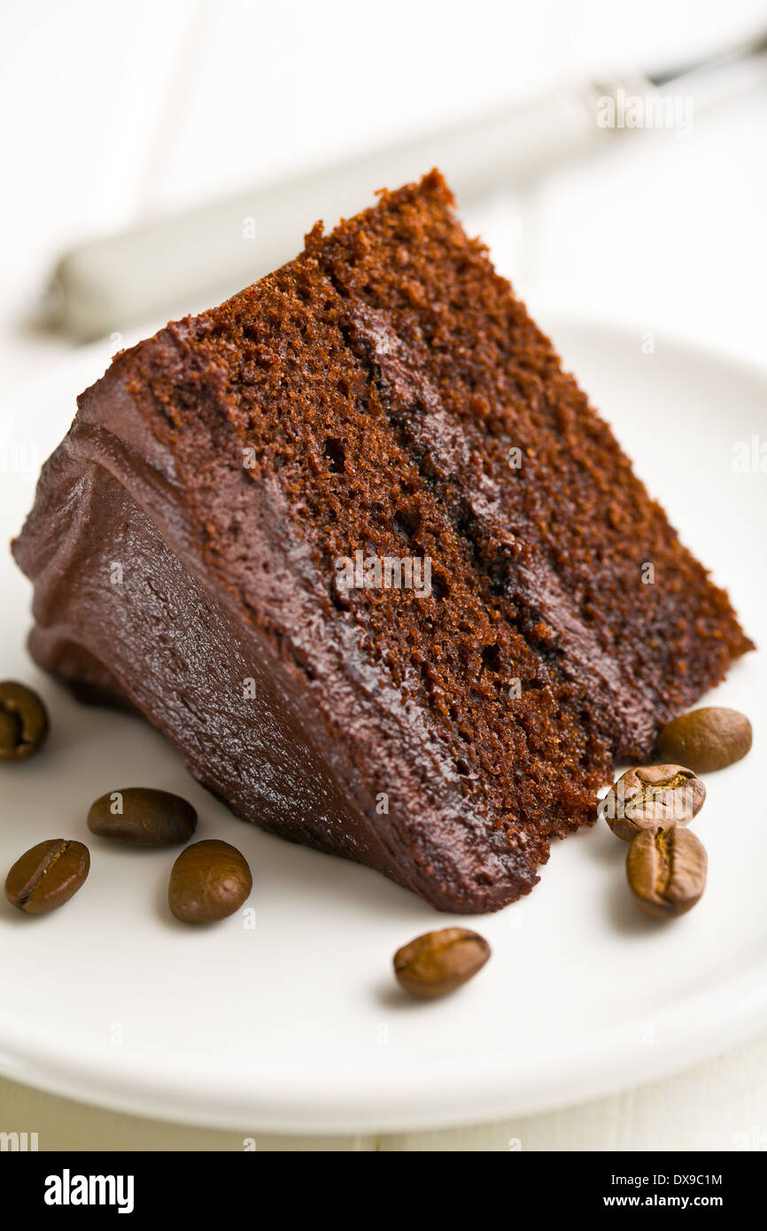 the dark chocolate cake with coffee beans - Stock Image