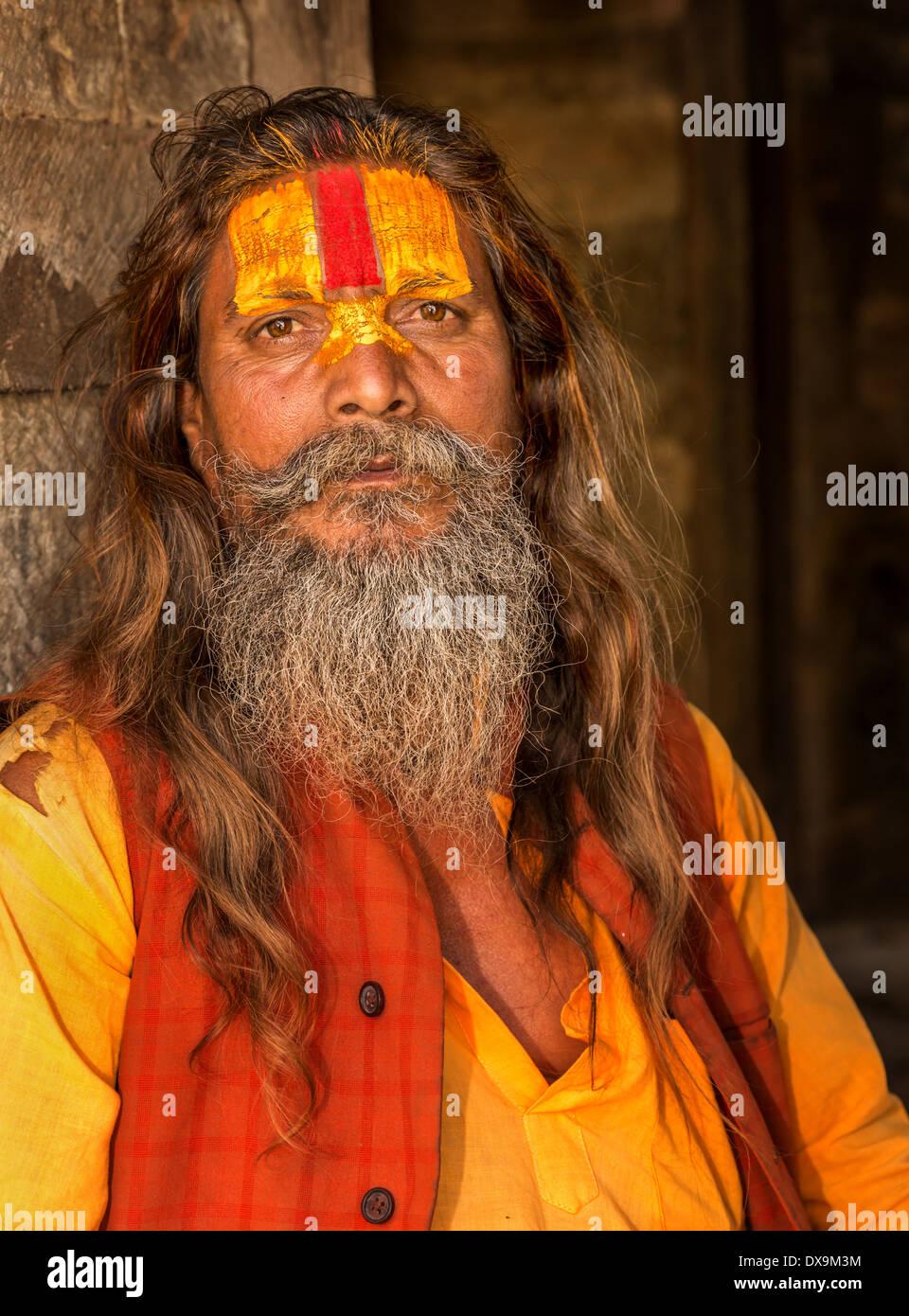 Sadhu, Pashupatinath, Kathmandu, Kathmandu District, Bagmati Zone, Nepal Stock Photo