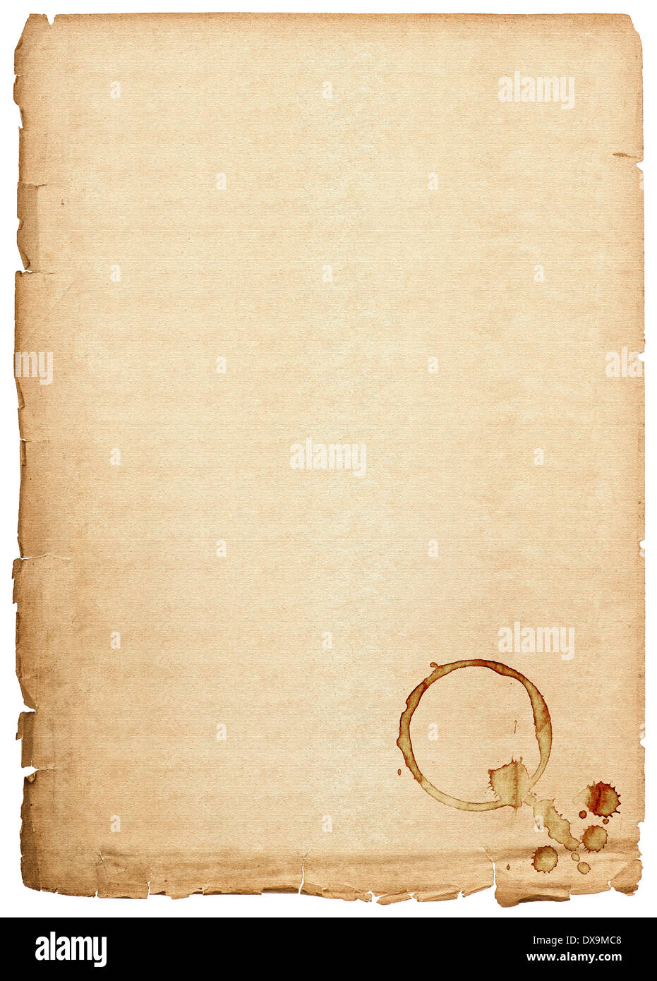 Old Paper Sheet Isolated On White Background Antique Book Page With Coffee Stains