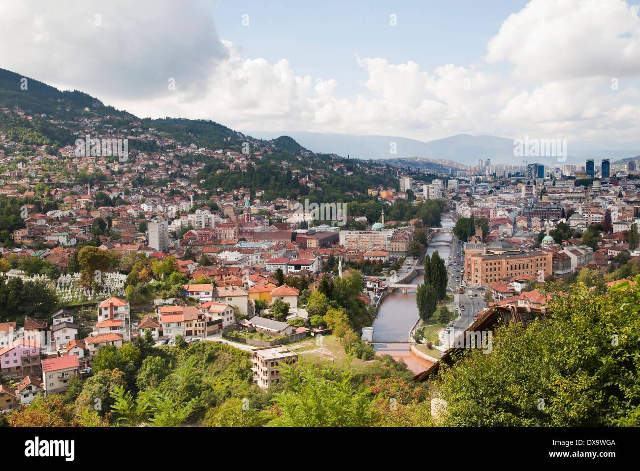 view with miljacka river, sarajevo, bosnia and herzegovina, europe - Stock Image