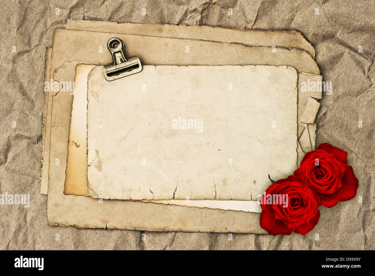 Old Blank Paper And Two Rose Flowers Grunge Vintage Background Valentines Day Card Concept