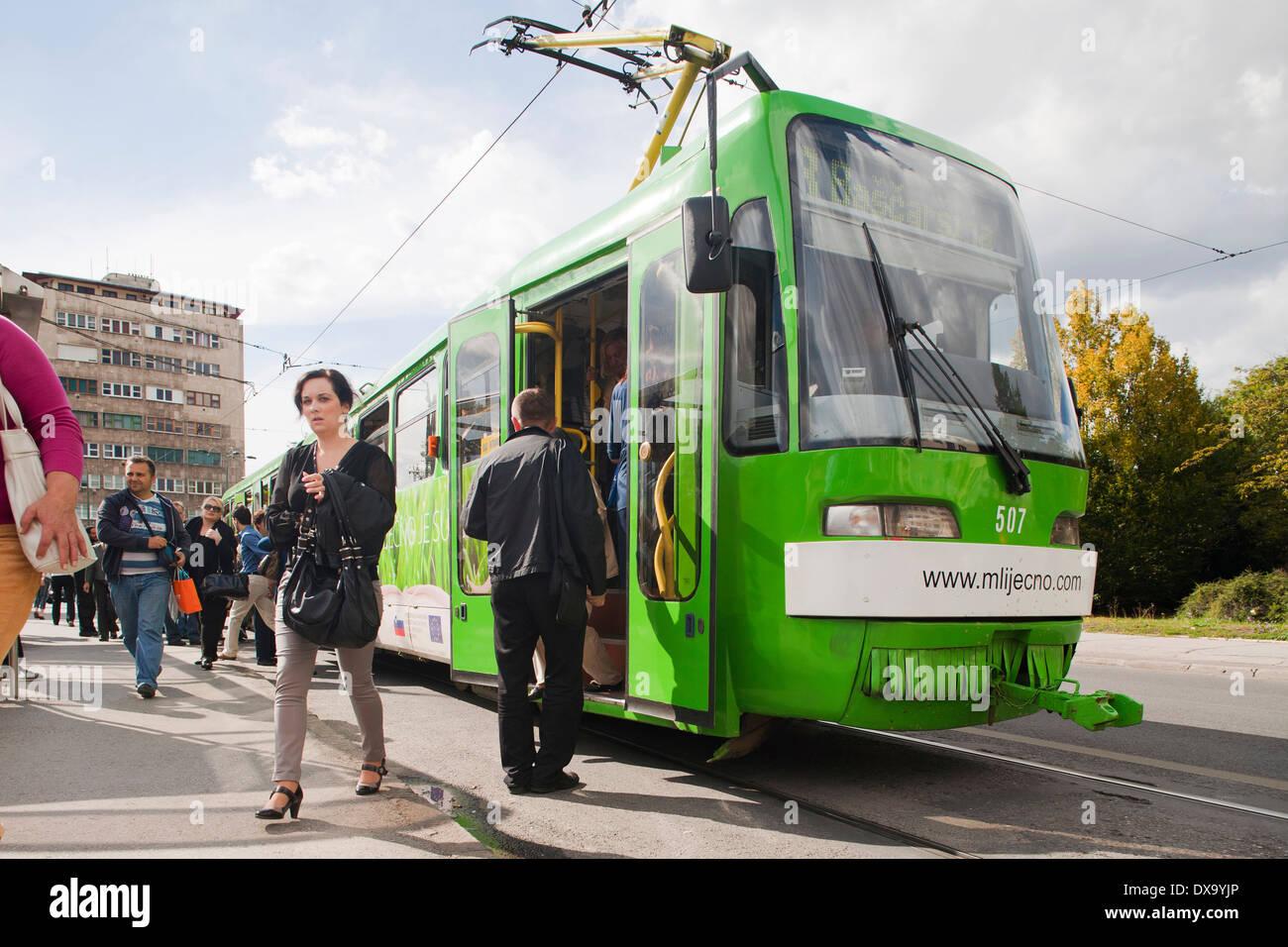 tram, sarajevo, bosnia and herzegovina, europe - Stock Image