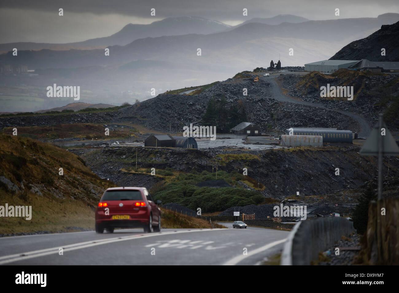 Slate quarry, Blaenau Ffestiniog, Snowdonia, Gwynedd, North Wales UK. Stock Photo