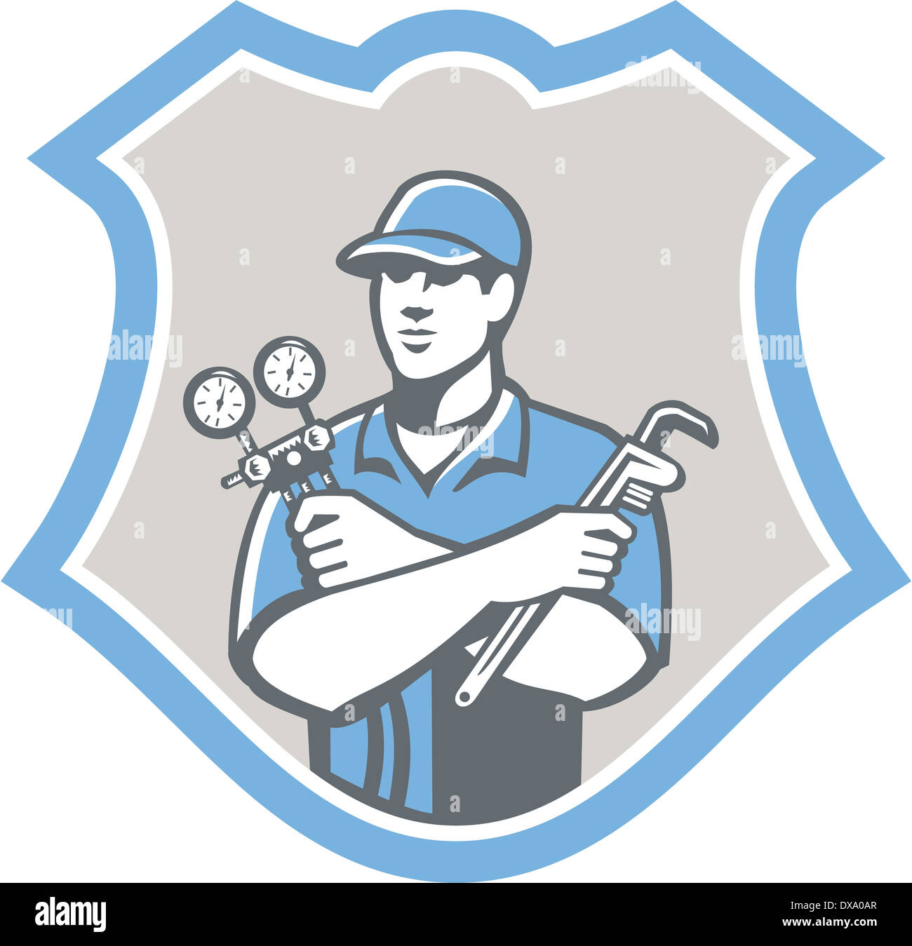Illustration of a refrigeration and air conditioning mechanic holding a pressure temperature gauge and ac manifold Stock Photo