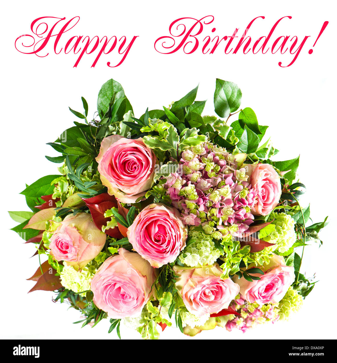 colorful flowers bouquet. happy birthday! Stock Photo: 67832430 - Alamy