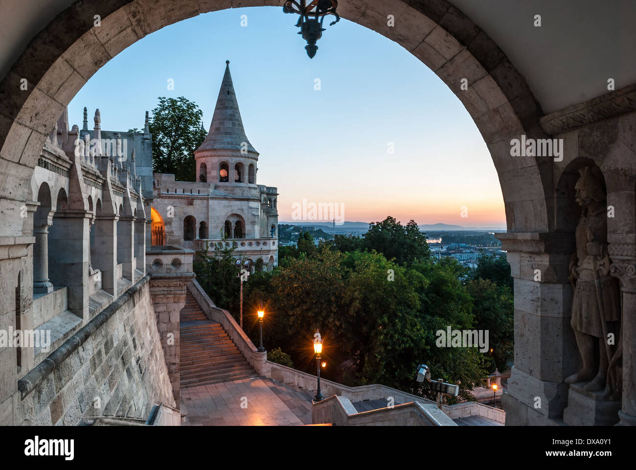 south gate of Fisherman's Bastion in Budapest at sunrise - Stock Image
