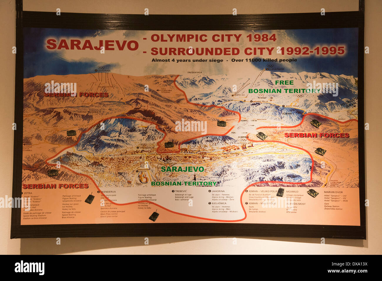 the tunnel, map of the siege, sarajevo, bosnia and herzegovina, europe - Stock Image