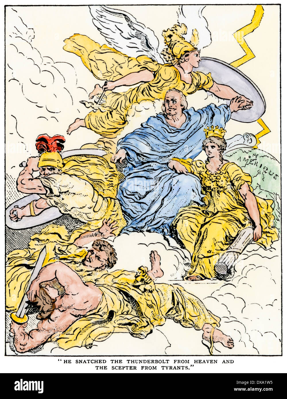French cartoon showing Benjamin Franklin's popularity: 'He snatched the thunderbolt from Heaven.' Hand-colored woodcut - Stock Image