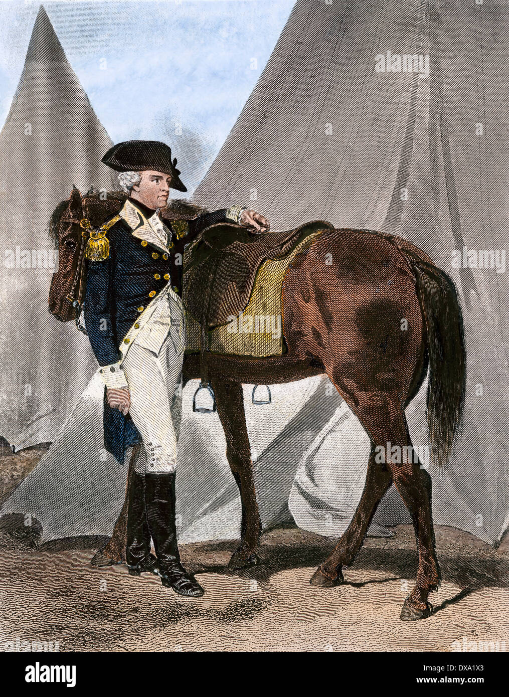 American General Anthony Wayne at his field headquarters. Hand-colored steel engraving - Stock Image