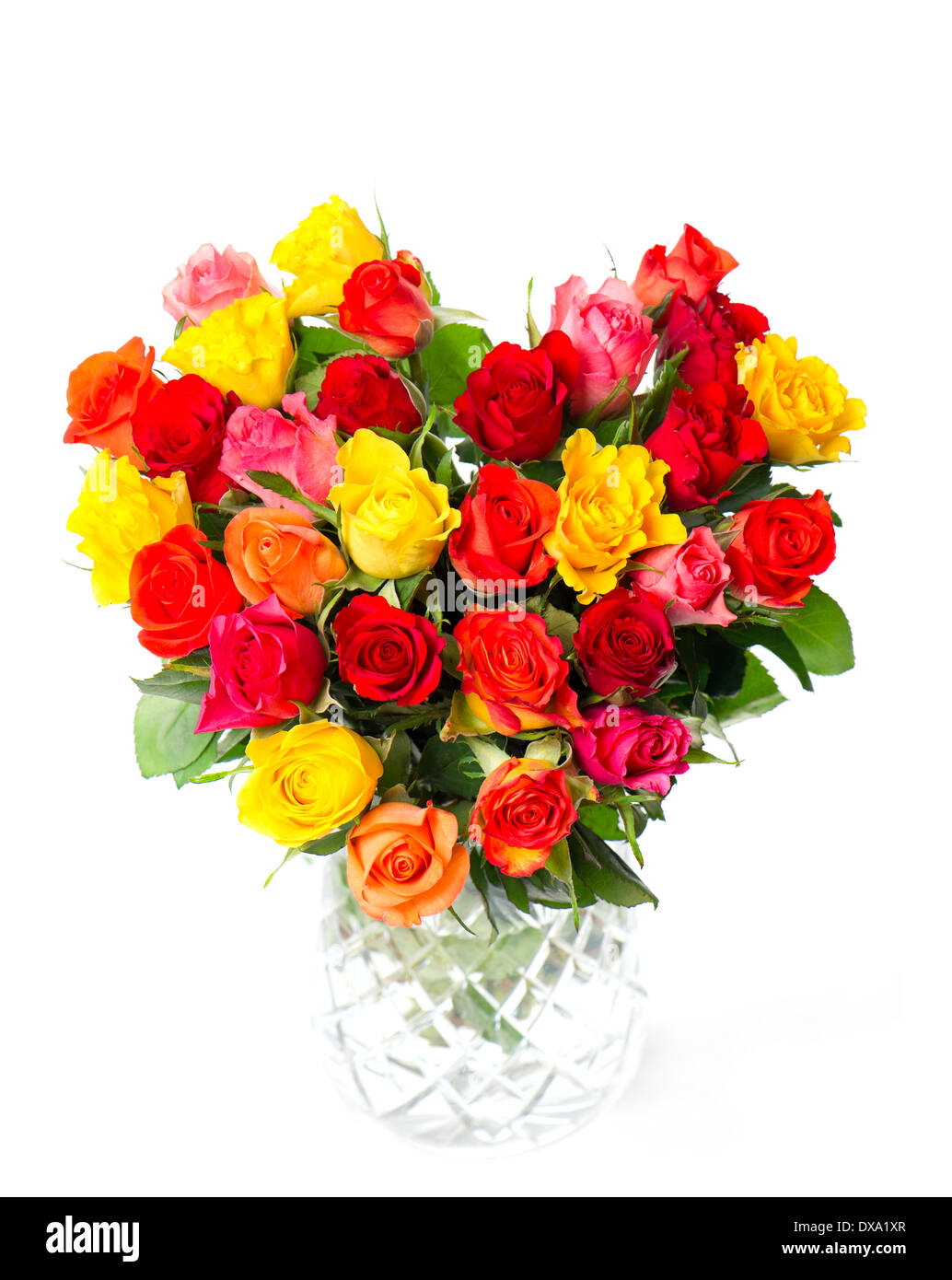bouquet of colorful assorted roses in heart shape in a vase on white ...