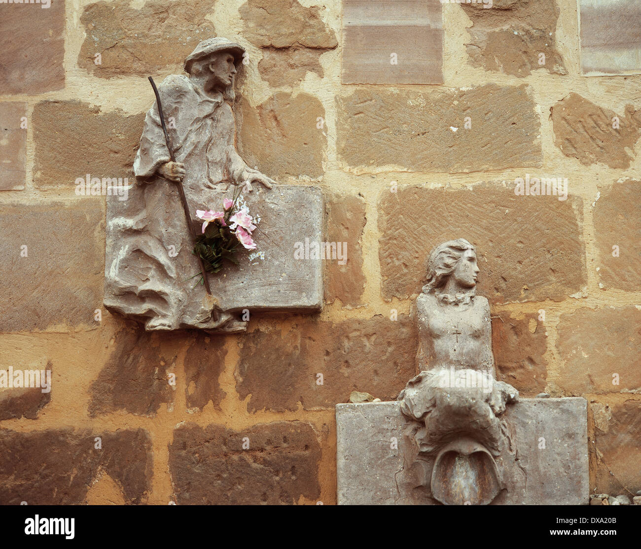 Chapel of St. Mary of Good Success. 16th-17th centuries. Reliefs on the facade in reference to the pilgrimage route. - Stock Image