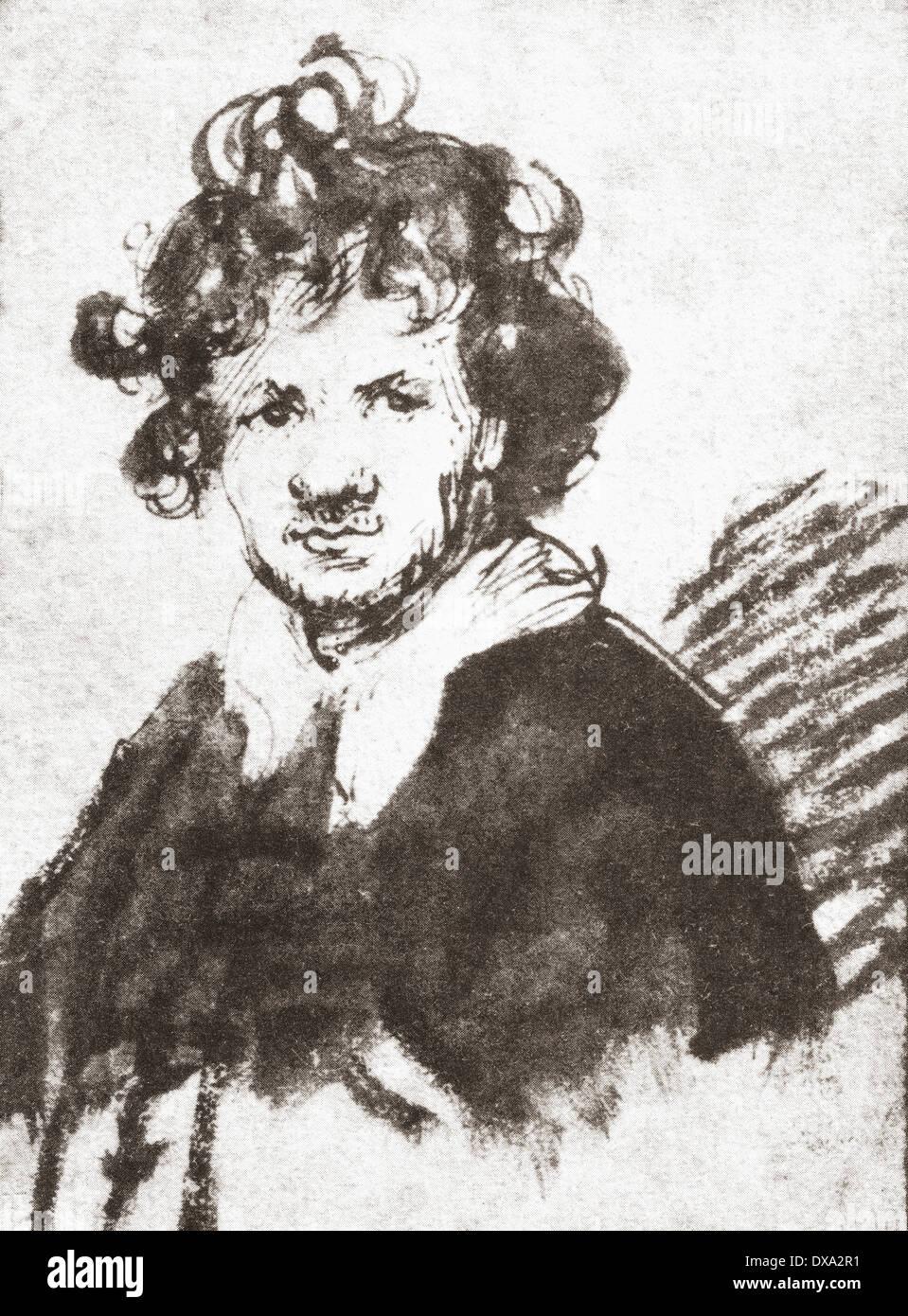 Self portrait of Rembrandt Harmenszoon van Rijn, 1606-1669. Dutch painter and etcher. - Stock Image
