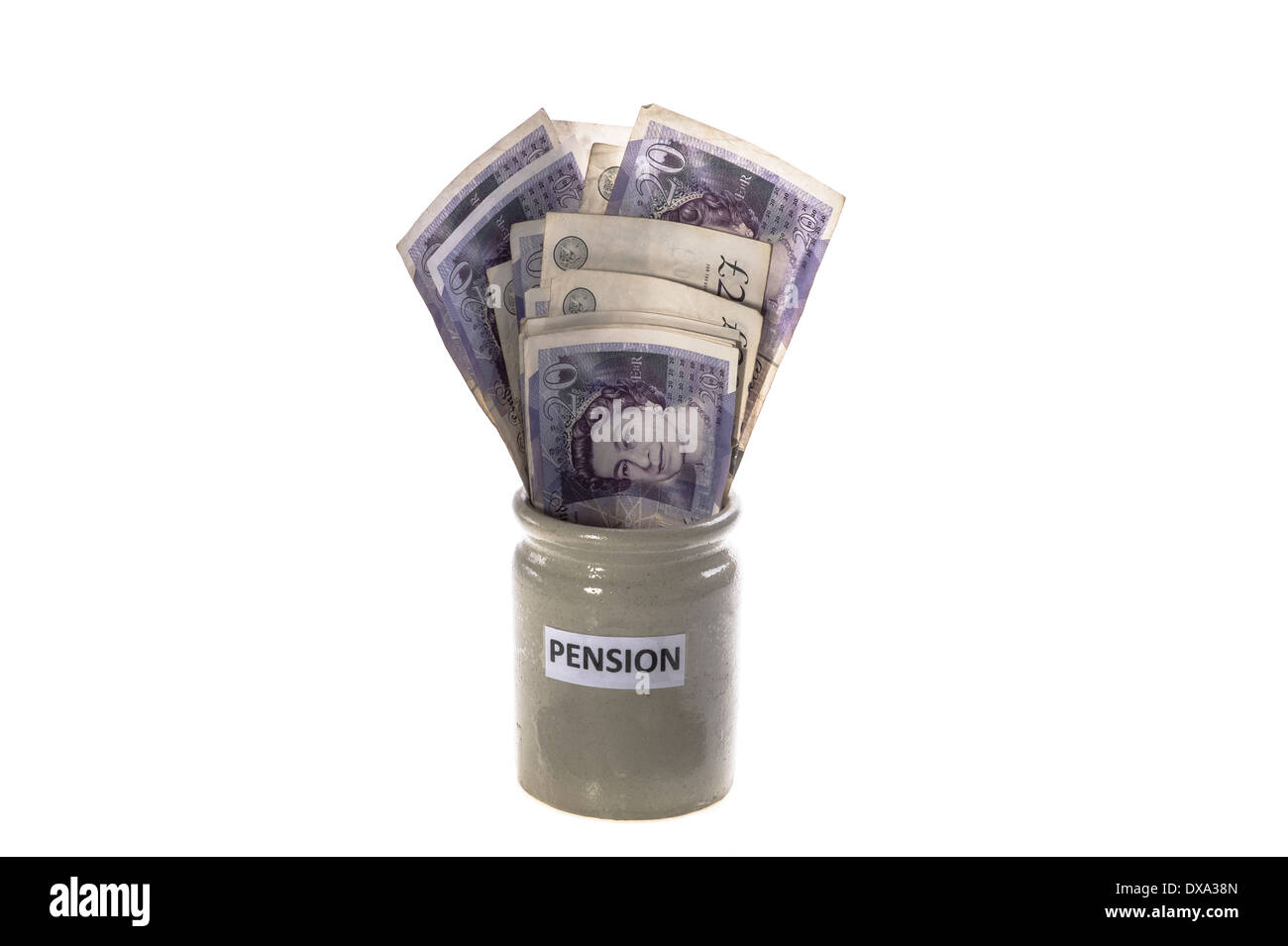 Pension pot. - Stock Image