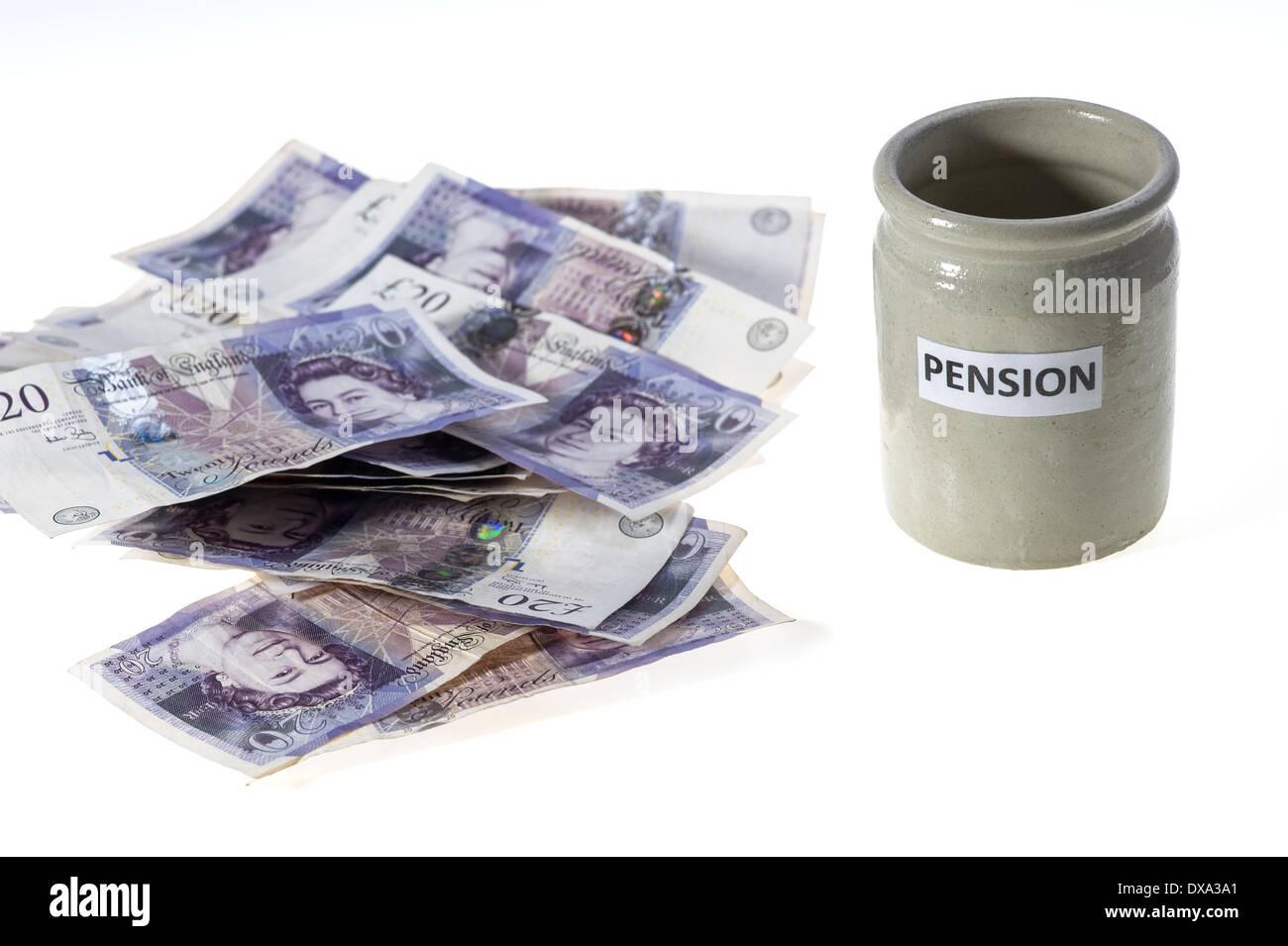 Empty pension pot. - Stock Image