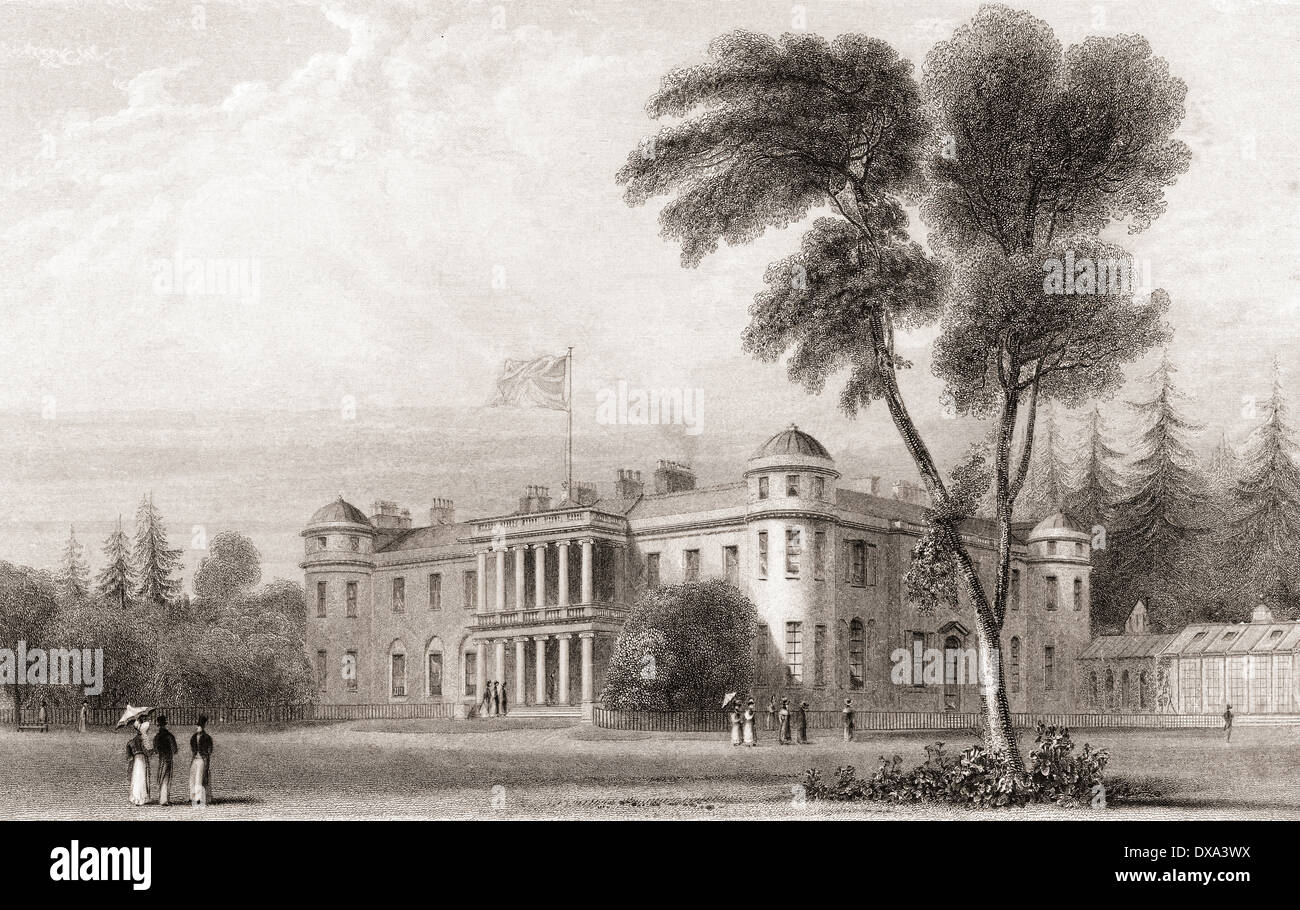 19th century view of Goodwood House, West Sussex, southern England. - Stock Image