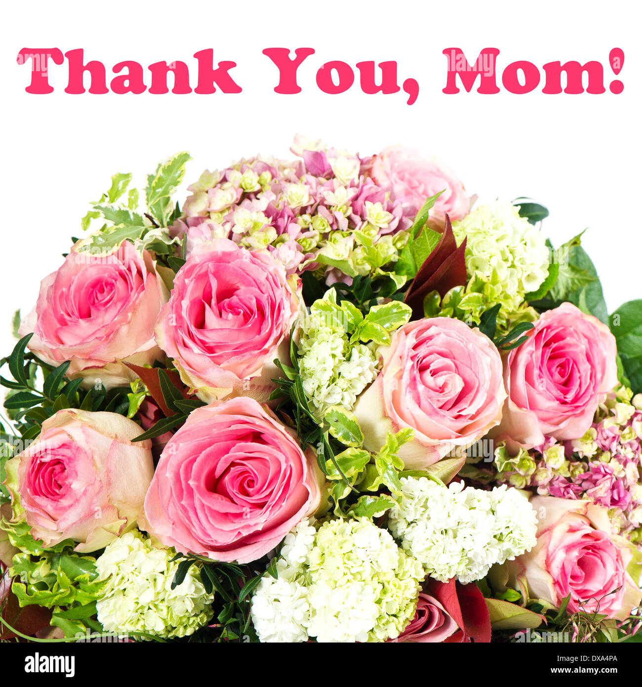 thank you, mom! card concept. bouquet of flowers Stock Photo ...