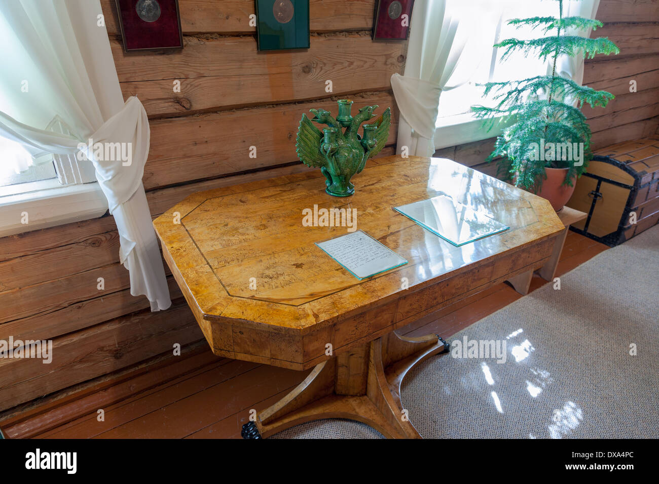 The interior of the museum Suvorov. Dining room with samovar. Generalissimo A. Suvorov is a great russian warlord - Stock Image