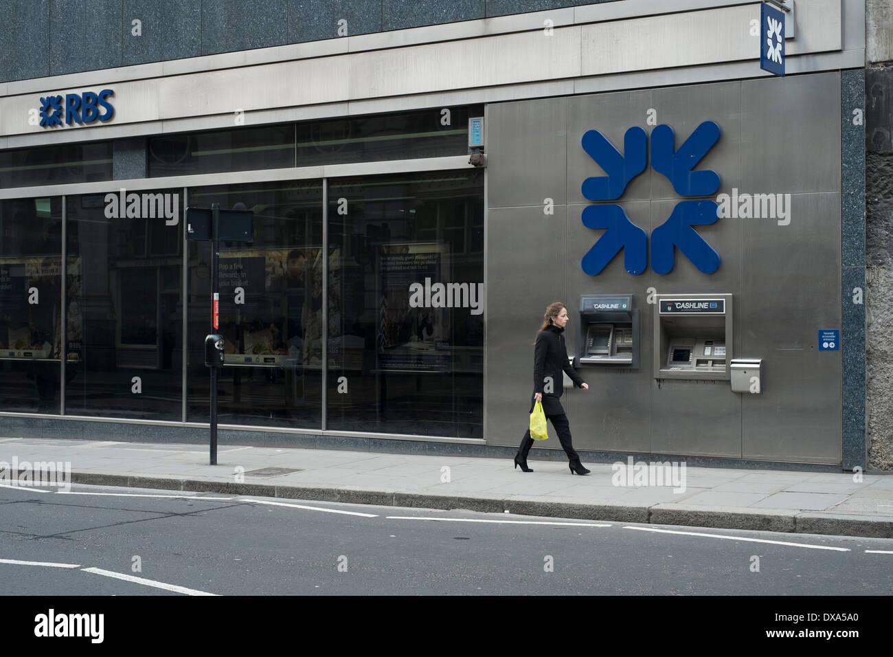 ATM machine at RBS branch in the City of London. - Stock Image