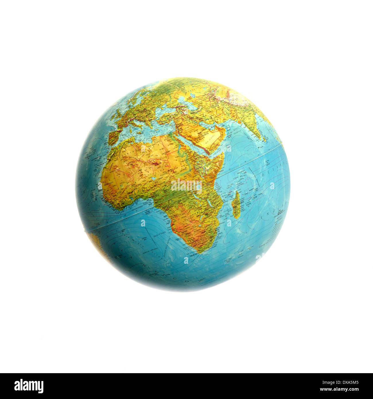 view of world map globe with background white - Stock Image