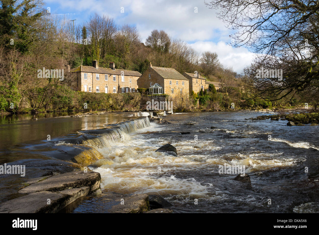 The River Tees and Demesnes Mill Barnard Castle County Durham UK - Stock Image
