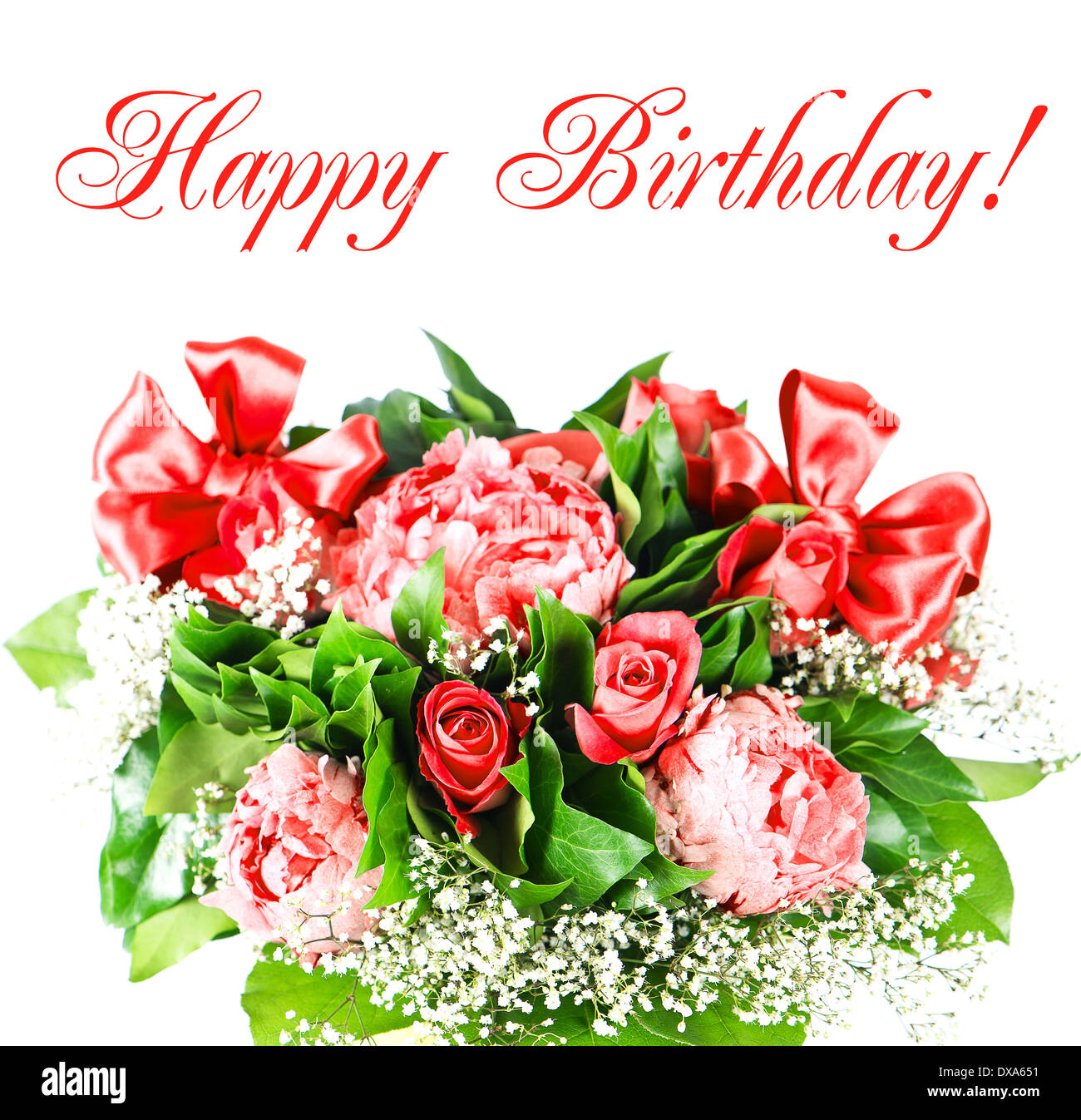 Happy birthday card concept peony and roses flowers stock photo happy birthday card concept peony and roses flowers izmirmasajfo