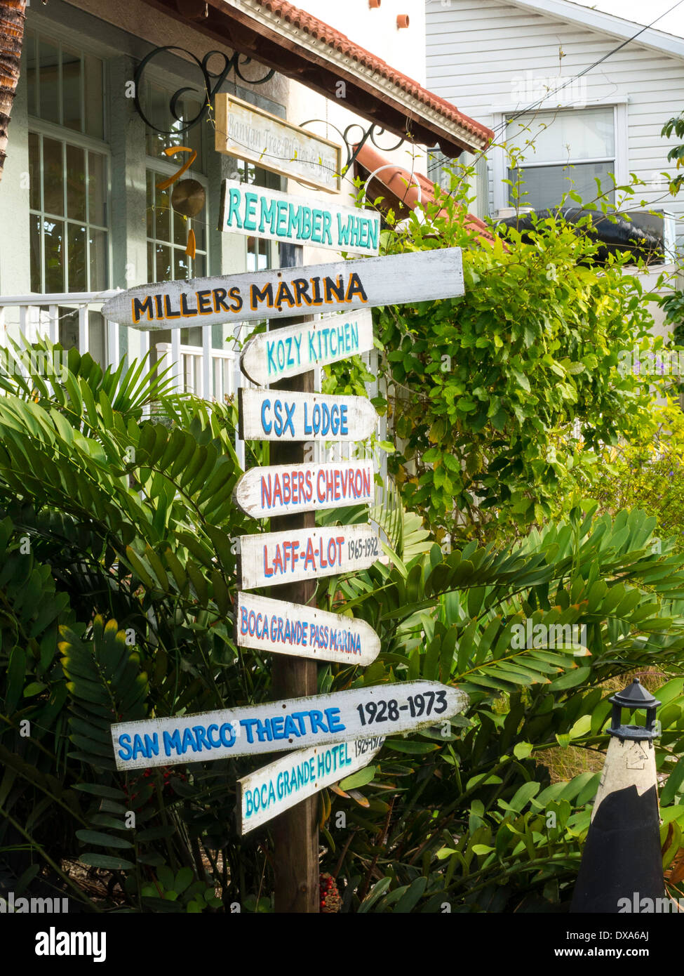 Kitschy Humorous Directional Sign Post, Boca Grande, FL, USA - Stock Image