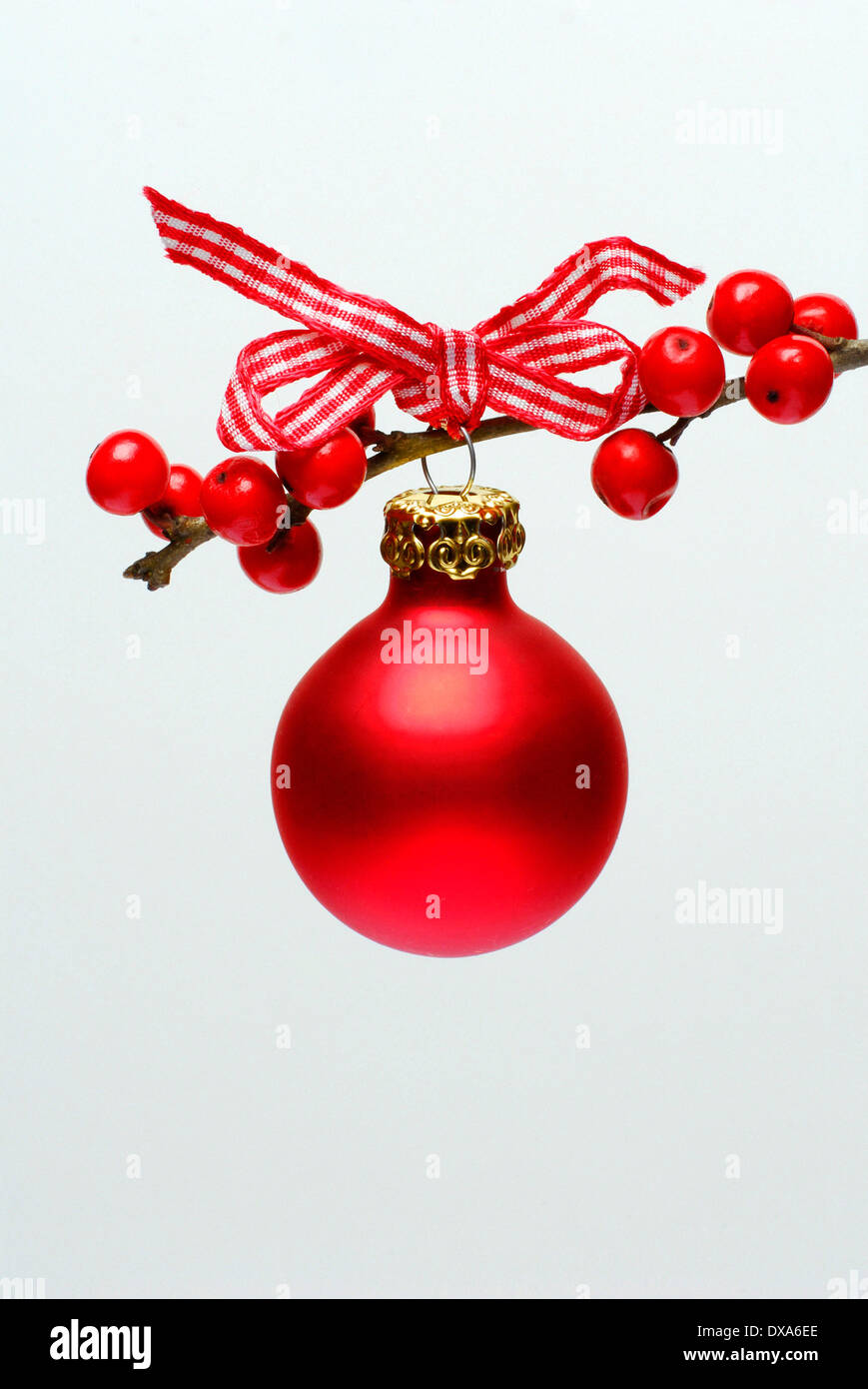 Christmas ball on Holly twig - Stock Image