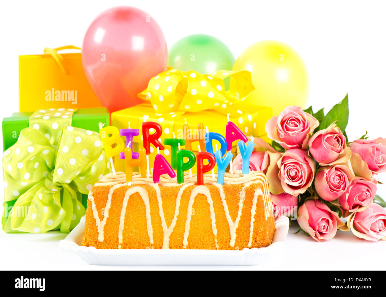 Happy Birthday Party Decoration With Roses Flowers Cake Balloons Gifts And Candles