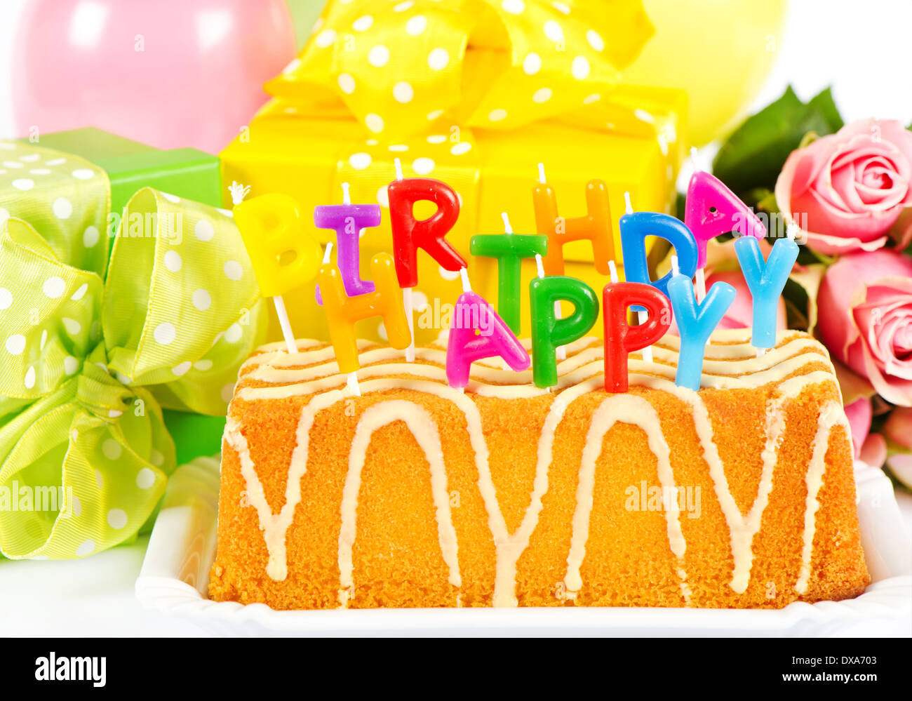 Happy Birthday Rose Flowers Cake Stock Photos Happy Birthday Rose