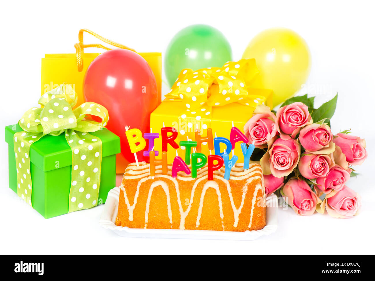 Birthday Party Decoration With Roses Flowers Cake Balloons Gifts And Candles