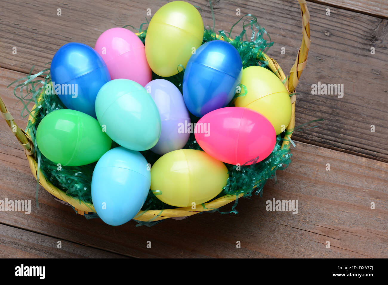 High Angle View Of A Basket Filled With Colorful Plastic Easter Eggs Horizontal Format On