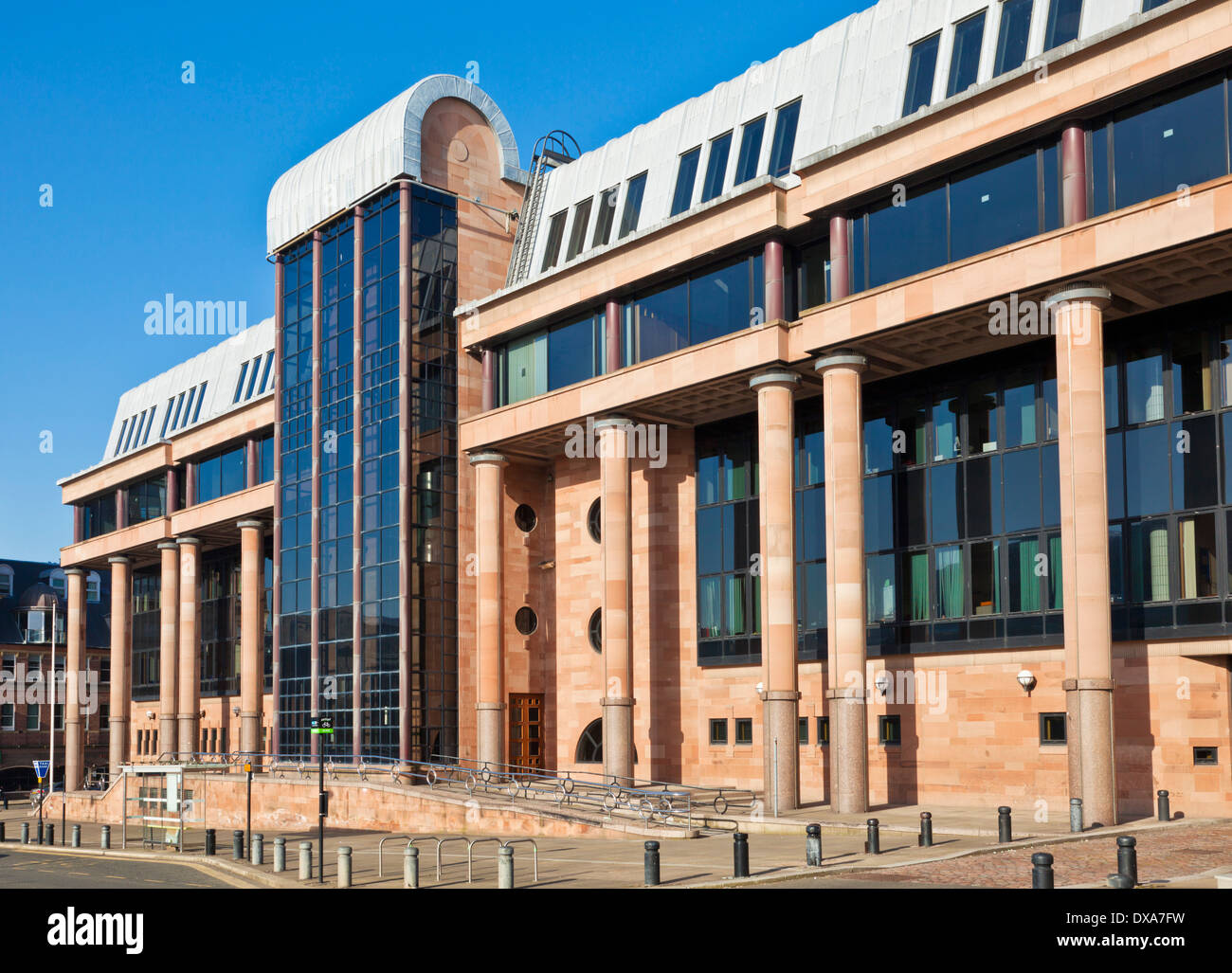 Front entrance of Newcastle crown court Newcastle upon tyne Tyneside North east England GB UK EU Europe - Stock Image