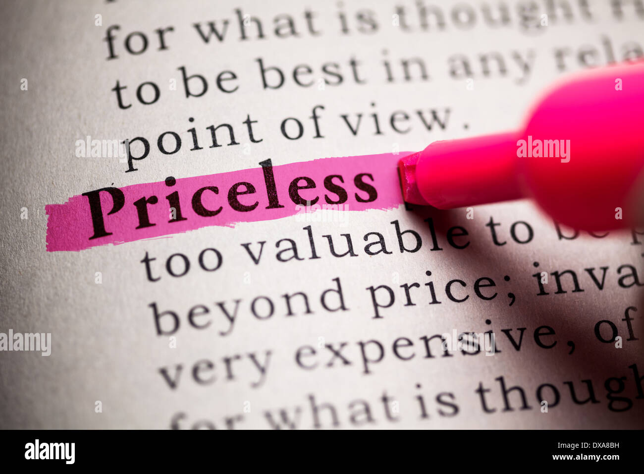 Fake Dictionary, definition of the word Priceless. - Stock Image