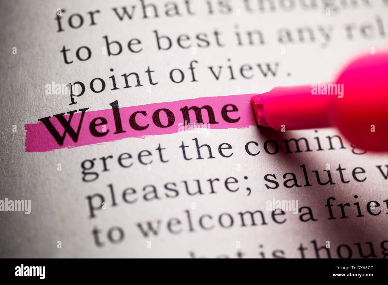 Fake Dictionary, definition of the word welcome Stock Photo