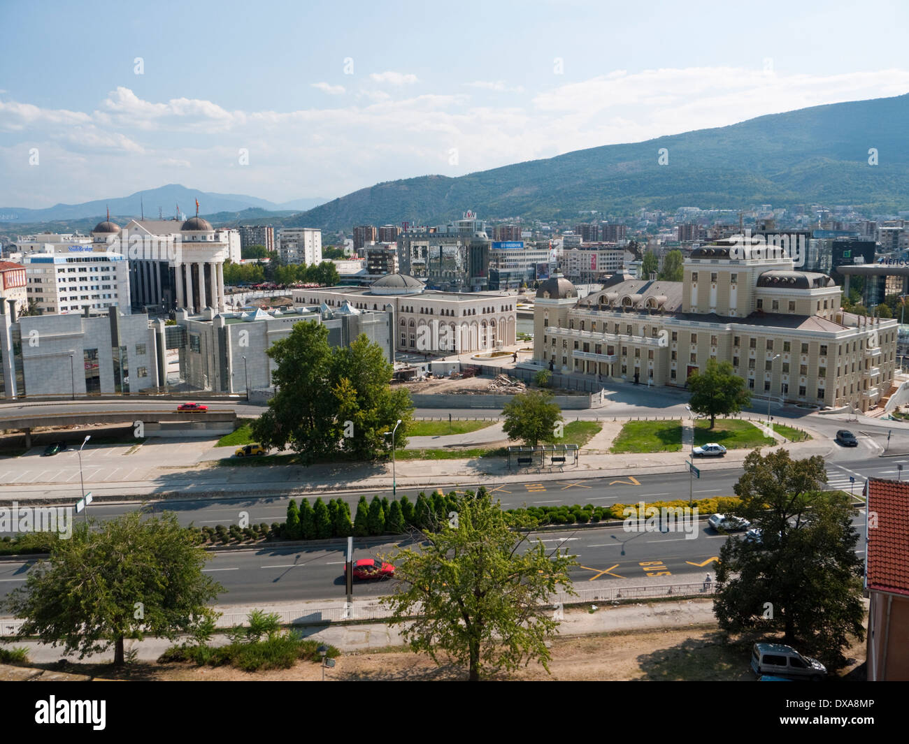 View of Skopje, the capital of Macedonia from the old walls of the Kale Fortress - Stock Image