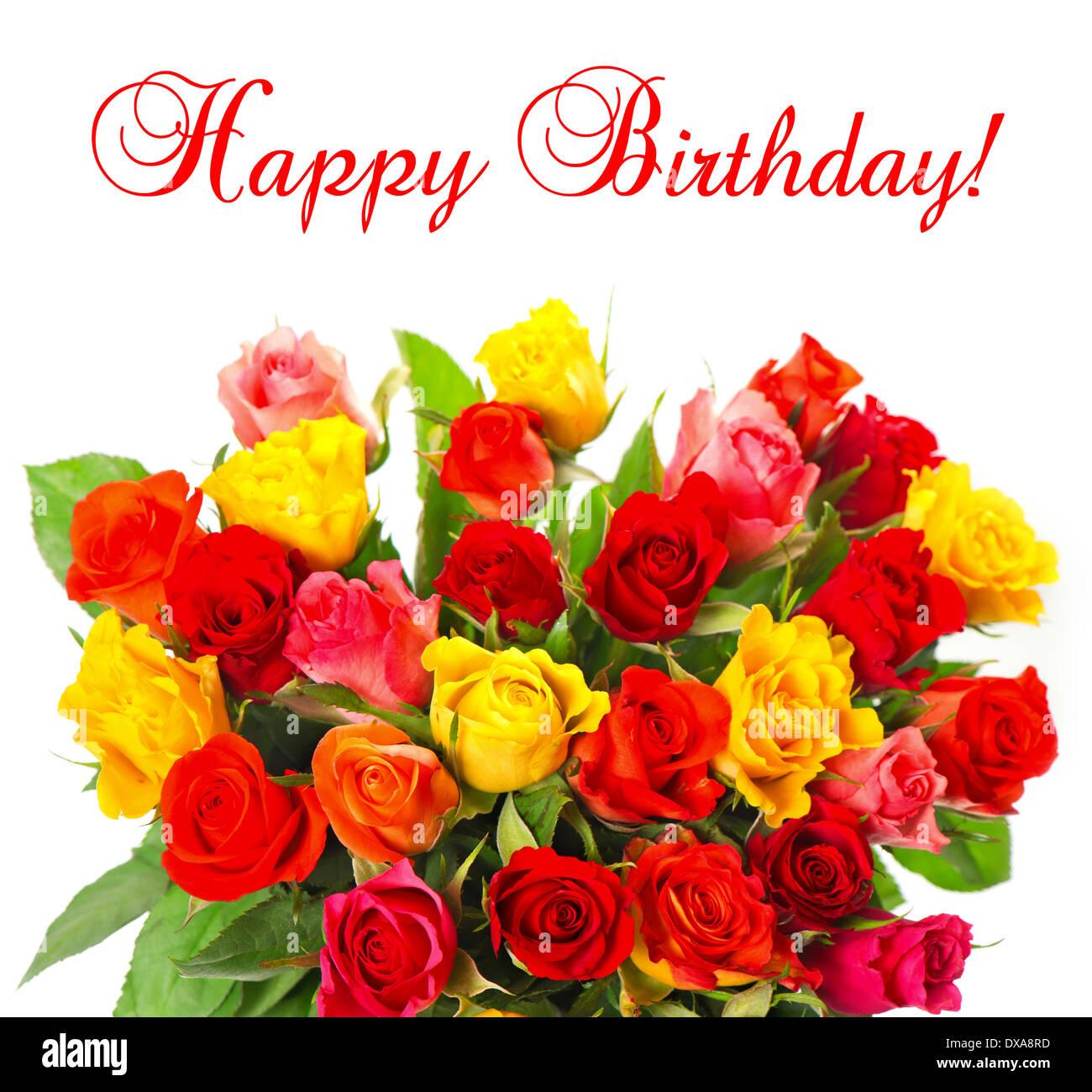 Mazzo Di Fiori Happy Birthday.Happy Birthday Card Bouquet Orange Stock Photos Happy Birthday