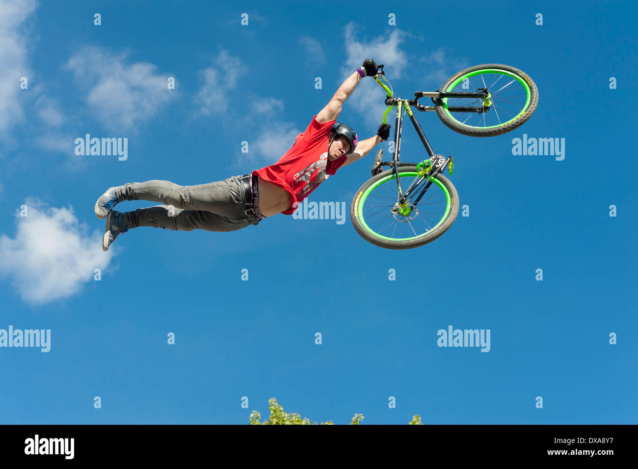 Freestyle mountainbike (MTB) professional Patrick Leitner (AUT) shows spectacular jumps at the 2013 freestyle.ch event in Zurich - Stock Image
