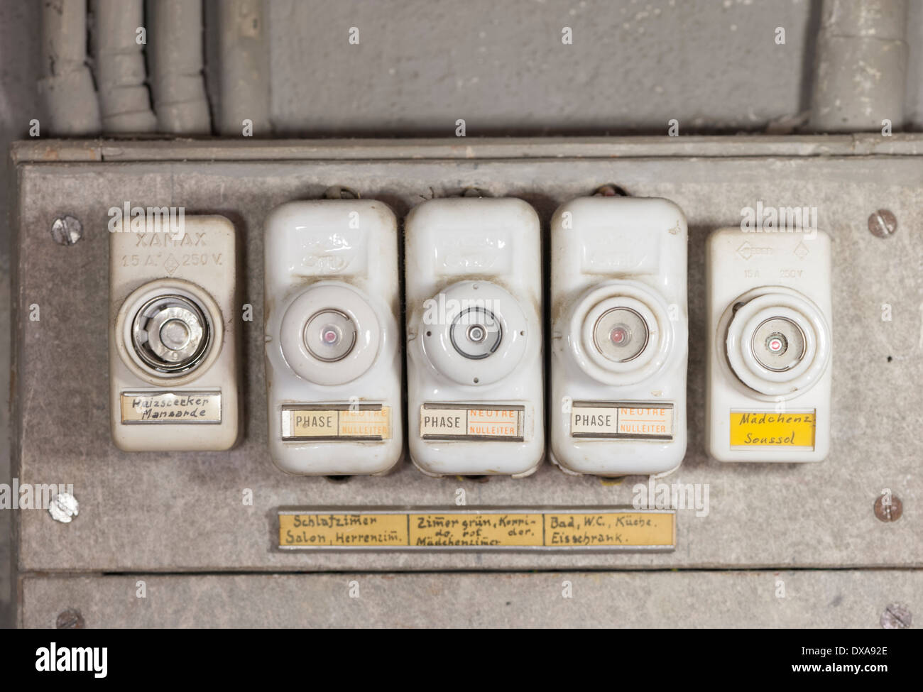 Old Fuses Fuse Box Stock Photos Images The Phase Close Up Of An Array Fashioned Lead In A Household