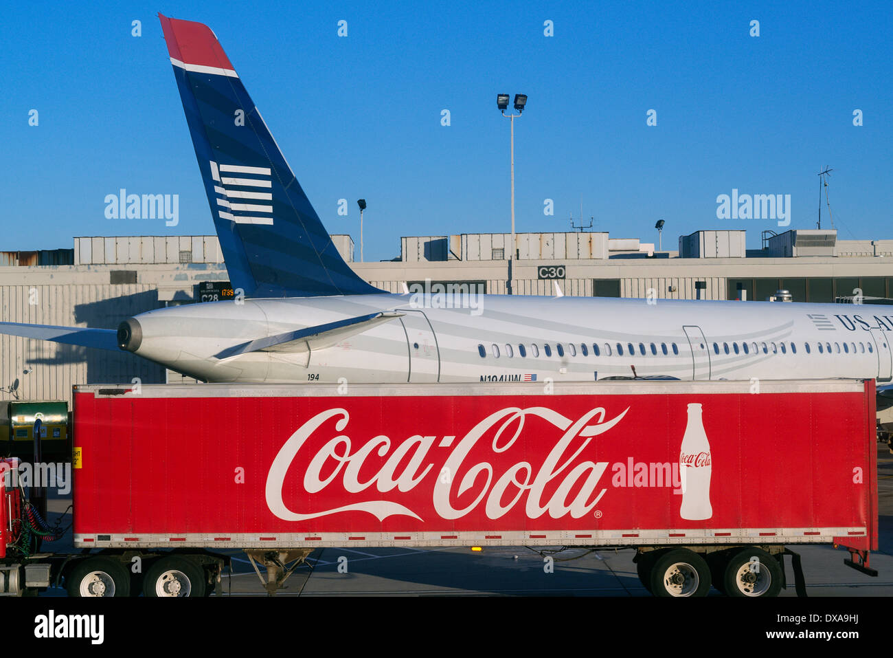 Coca Cola delivery truck at airport, Philadelphia, Pennsylvania, USA - Stock Image
