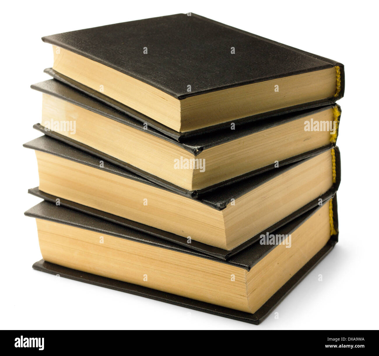 Stack of old black books isolated on white background - Stock Image