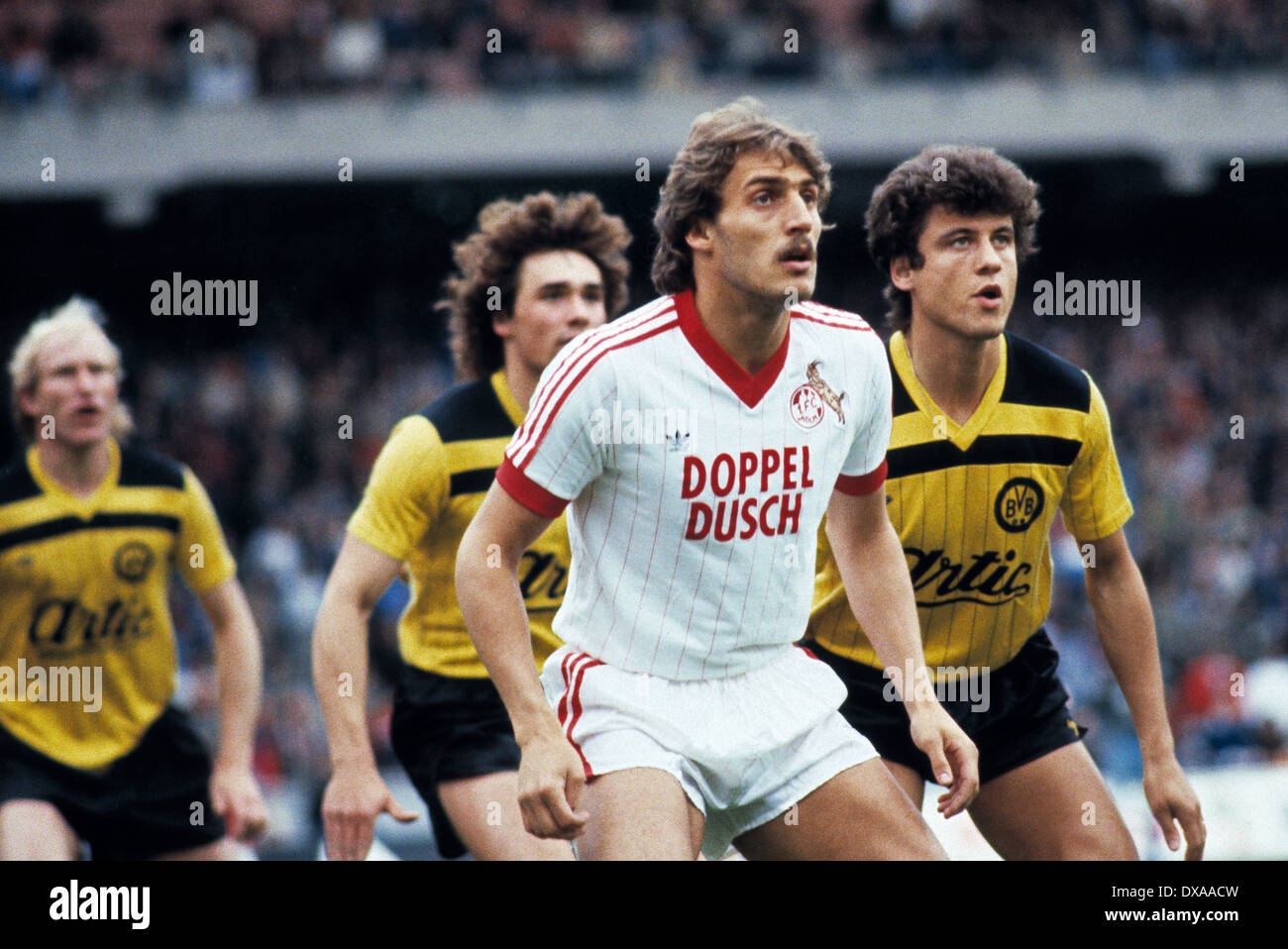 football, Bundesliga, 1983/1984, Muengersdorf Stadium, 1. FC Cologne versus Borussia Dortmund 5:2, scene of the Stock Photo