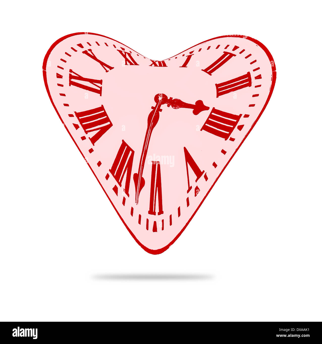 Abstract Love Heart Distorted Time Clock - Stock Image