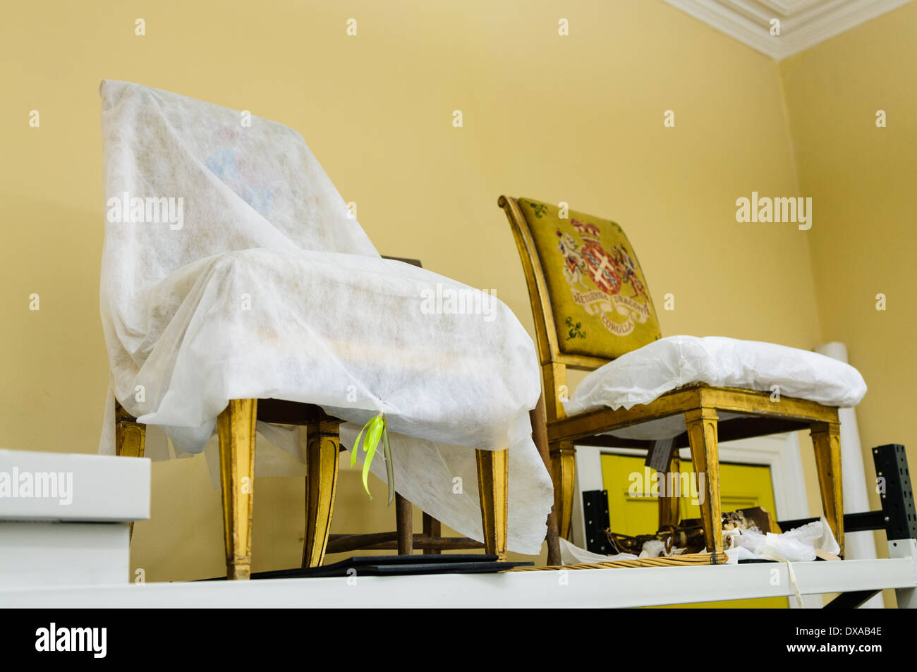 Two Antique Chairs Which Have Been Professionally Restored   Stock Image