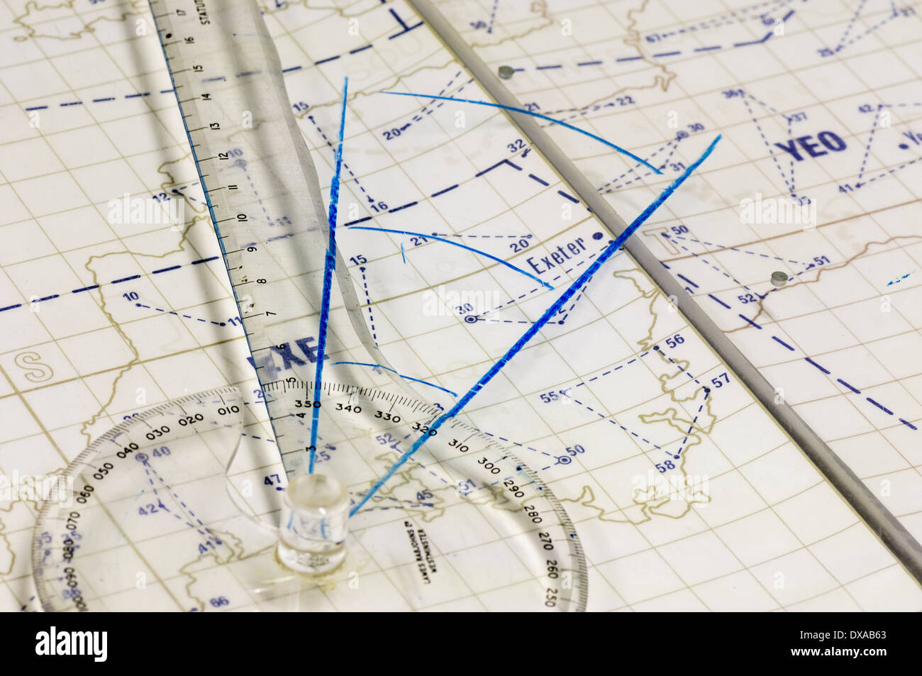 Navigation mapping ruler on a map of Cornwall in South West England - Stock Image