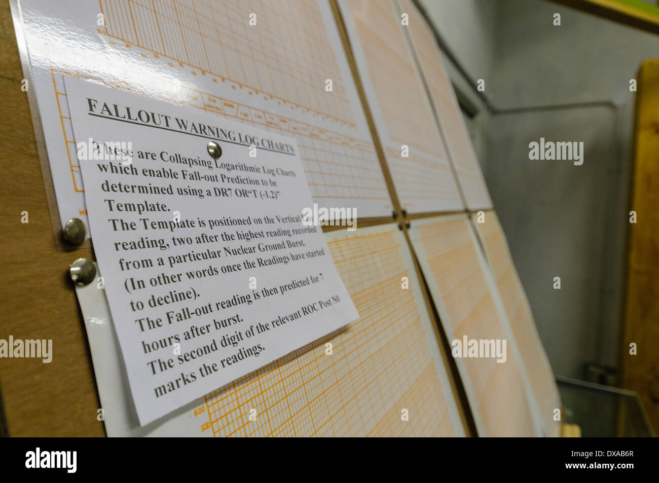 Nuclear bomb attack fallout warning log charts - Stock Image
