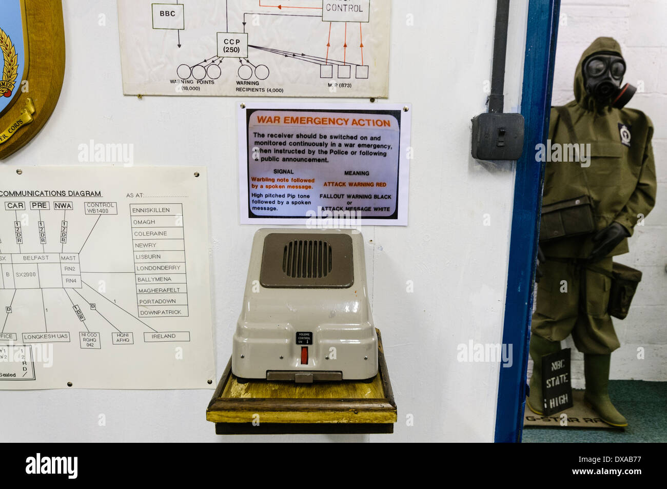 Emergency intercom in a 1980s cold war nuclear bunker - Stock Image