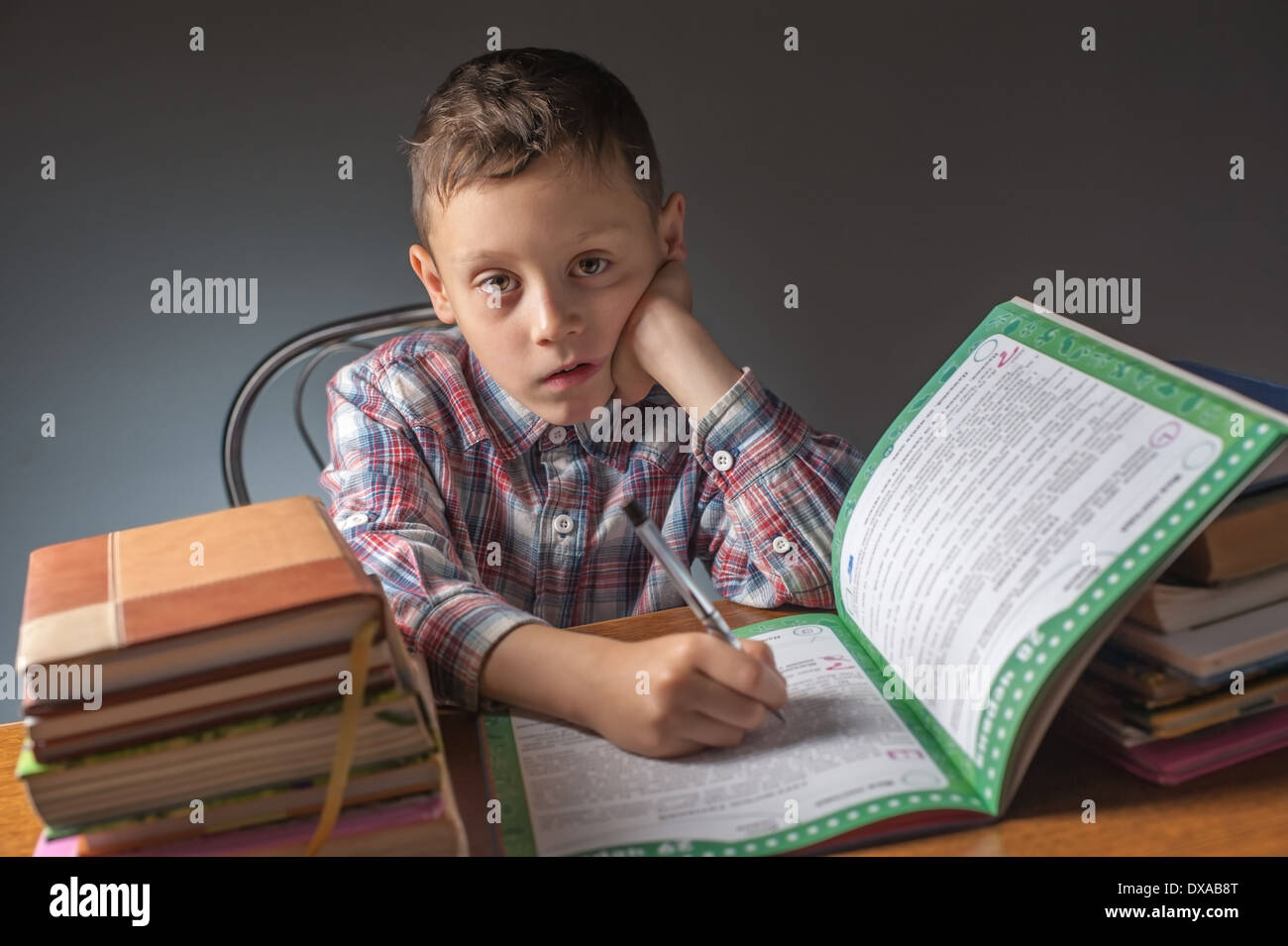 boy does a home task - Stock Image